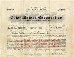 Chief Motors Company 1919 Stock Certificate