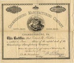 Chambersburg Manufacturing Company - Pennsylvania 1882