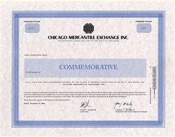 Chicago Mercantile Exchange Inc. Commemorative Certificate (Handed out on the trading floor the day of the CME's IPO) - November 13, 2000