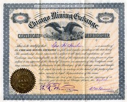 Chicago Mining Exchange Certificate of Membership - 1883