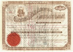 Charlestown Mining,  Manufacturing and Improvement Company signed by  Confederate Colonel Roger Preston Chew  - West Virginia 1891