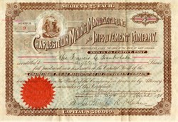 Charles Town Mining, Manufacturing and Improvement Company signed by Confederate Colonel Roger Preston Chew - West Virginia 1891