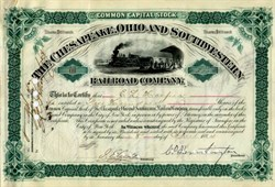 Chesapeake,  Ohio, and Southwestern Railroad Company 1884 signed by Collis P. Huntington