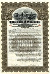 Chicago, Peoria and St. Louis Railroad Company uncancelled Gold Bond - 1913