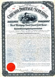 Chicago, Portage and Superior Railway Company Gold Bond - Illinois and Wisconsin 1881