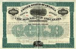 Chicago, Saginaw & Canada Railroad Co. uncancelled Gold Bond - 1873