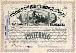 Chicago, Saint Paul, Minneapolis, and Omaha Railway Company Preferred Stock Certificate - 1947