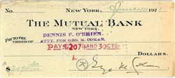 Check signed by Broadway Star, George M. Cohan - New York 1921