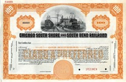 Chicago South Shore and South Bend Railroad Specimen Stock Certificate - 1920's