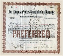 Chapman Valve Manufacturing Company -  ( Fire Hydrant Maker ) Springfield, Massachusetts 1911