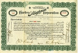 Charles Weeghman Corporation signed by Chicago Cubs Owner Charles Weeghman (In 1926, Weeghman Park was renamed Wrigley Field ) - Delaware 1921