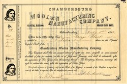 Chambersburg Woolen Manufacturing Company - Pennsylvania 1868