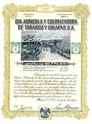 Compania Agricola y Colonizadora de Tabasco y Chiapas -  Mexico 1912