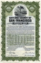 City and County of San Francisco Exposition Bond (Panama-Pacific International Exposition ) - Certificate #1 - California 1912