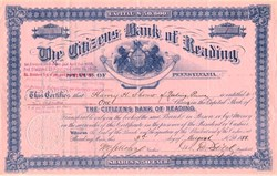 Citizens Bank of Reading - Pennsylvania 1888