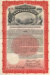 City & County of San Francisco Fire Protection Bond signed by Mayor (Image of The Great White Fleet) - 1908