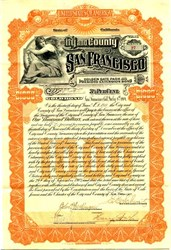 City & County of San Francisco Golden Gate Park  and Presidio Extension Gold Bond signed by Mayor  - 1904