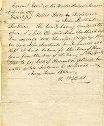 Circuit Court sentence of John Southack to hard labor for committing Insurance Fraud by Sinking Ship - 1803