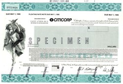 Citicorp Specimen Floating Rate Note Certificate  - Delaware 1983