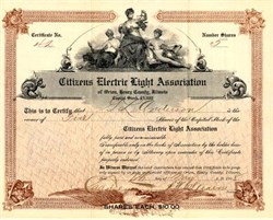 Citizens Electric Light Association - Orion, Henry County, Illinois  1908