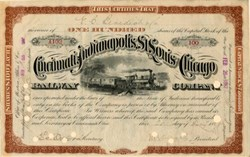 Cincinnati, Indianapolis, St. Louis, and Chicago Railway Company signed by Melville Ezra Ingalls - Ohio 1887