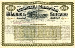 Cincinnati, Indianapolis, St. Louis & Chicago Railway Gold Bond signed by Melville Ezra Ingalls  - Indiana  1888