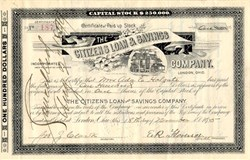 Citizens Loan & Savings Company (Now The Citizens Bank of London) - London, Ohio 1895