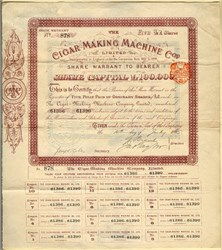 Cigar Making Machine Company Limited - England 1895