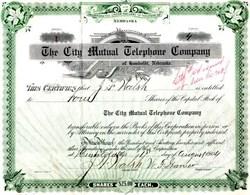 City Mutual Telephone Company (certificate #1) - Humboldt, Nebraska 1904