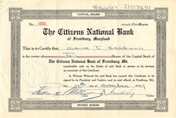 Citizens National Bank of Frostburg Maryland - 1927