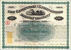 Cincinnati and Springfield Railway Company (imprinted revenue stamp) - 1871