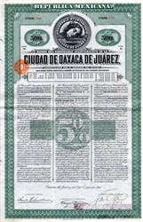 Republic Mexicana Ciudad De Oaxaca De Juarez uncancelled $500  Bond - Mexico 1910