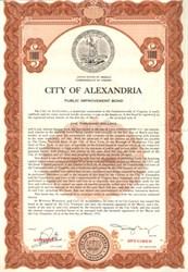 City of Alexandria, Virginia - Public Improvement Bond 1953