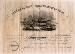 Fire Department Appointment signed by Mayor Josiah Quincy,  Boston, Massachusetts 1847