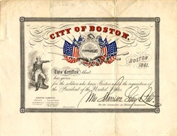 City of Boston, Civil War  - Massachusetts 1861