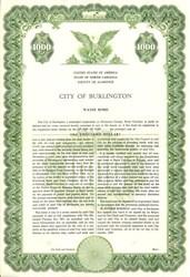 City of Burlington Water Bond - North Carolina 1959