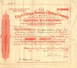City of Chicago Brewing & Malting Company - England 1892