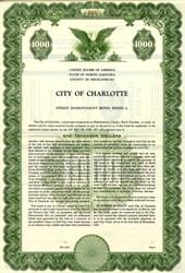 City of Charlotte Select Improvement Bond - North Carolina 1955