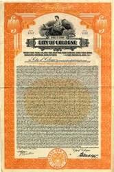 City of Cologne $1000 Gold Bond - Republic of Germany 1925