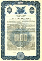 City of Detroit $1000 Municipal Bond (Pre Bankruptcy) -  Michigan, 1956