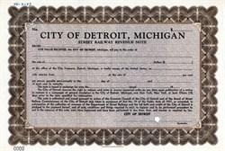 City of Detroit, Michigan Street Railway Revenue Note - 1937