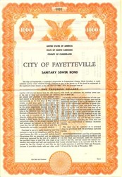 City of Fayetteville Sanitary Sewer Bond - North Carolina 1957