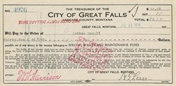 City of Great Falls Check signed by the Mayor - Montana 1914