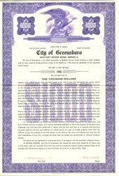 City of Greensboro Sanitary Sewer Bond - North Carolina 1958