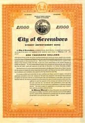 City of Greensboro Street Improvement Bond - North Carolina 1924
