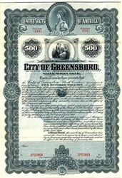 City of Greensboro Water Works $500 Bond - North Carolina 1901