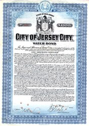 "City of Jersey City Water Bond Signed by Mayor Frank Hague (""I am the law."") - New Jersey 1920"