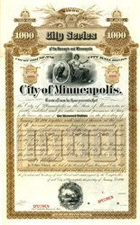 City of Minneapolis $1000 Municipal Bond - Minnesota 1890