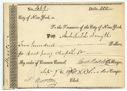 City of New York Check signed by Mayor, Jacob Radcliff (Jersey City Founder)  - 1816