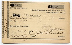 City of New York check signed by Mayor, William Paulding, Jr. - New York, New York 1825